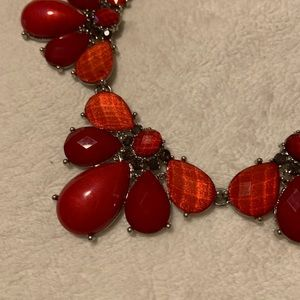 Red and Silver Statement Necklace